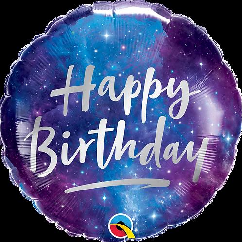 "Standard Foil Balloon ""Birthday Galaxy"" 18"" Helium Filled"