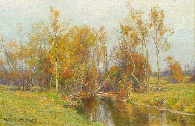 Autumn Trees along a Stream by Hugh Bolton Jones