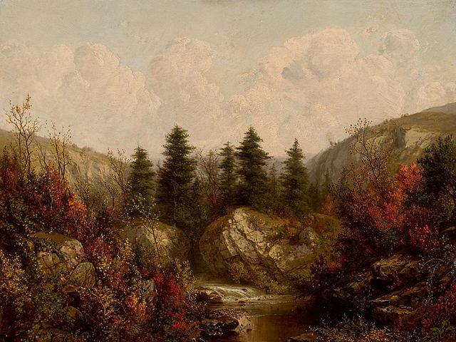 River through an Autumn Forest by William Mason Brown