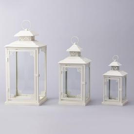Set of 3 Ivory Lanterns
