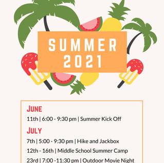 Middle School Summer Schedule