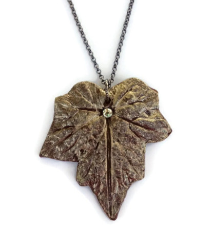 Nature's jewelry in a clay leaf necklace