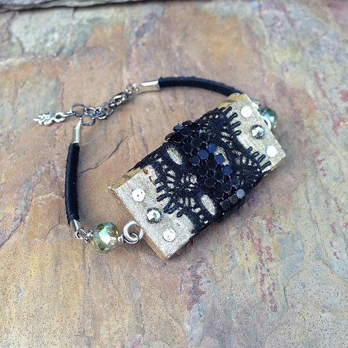 Black Lace Studded Bracelet