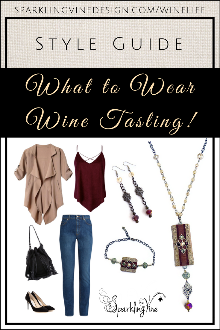 Style guide for what to wear at wine bars with image of Sparkling Vine cork necklace, cork bracelet, dangling earrings, jeans, black pumps, black handbag with tassels, burgundy tank top, & camel flowy jacket