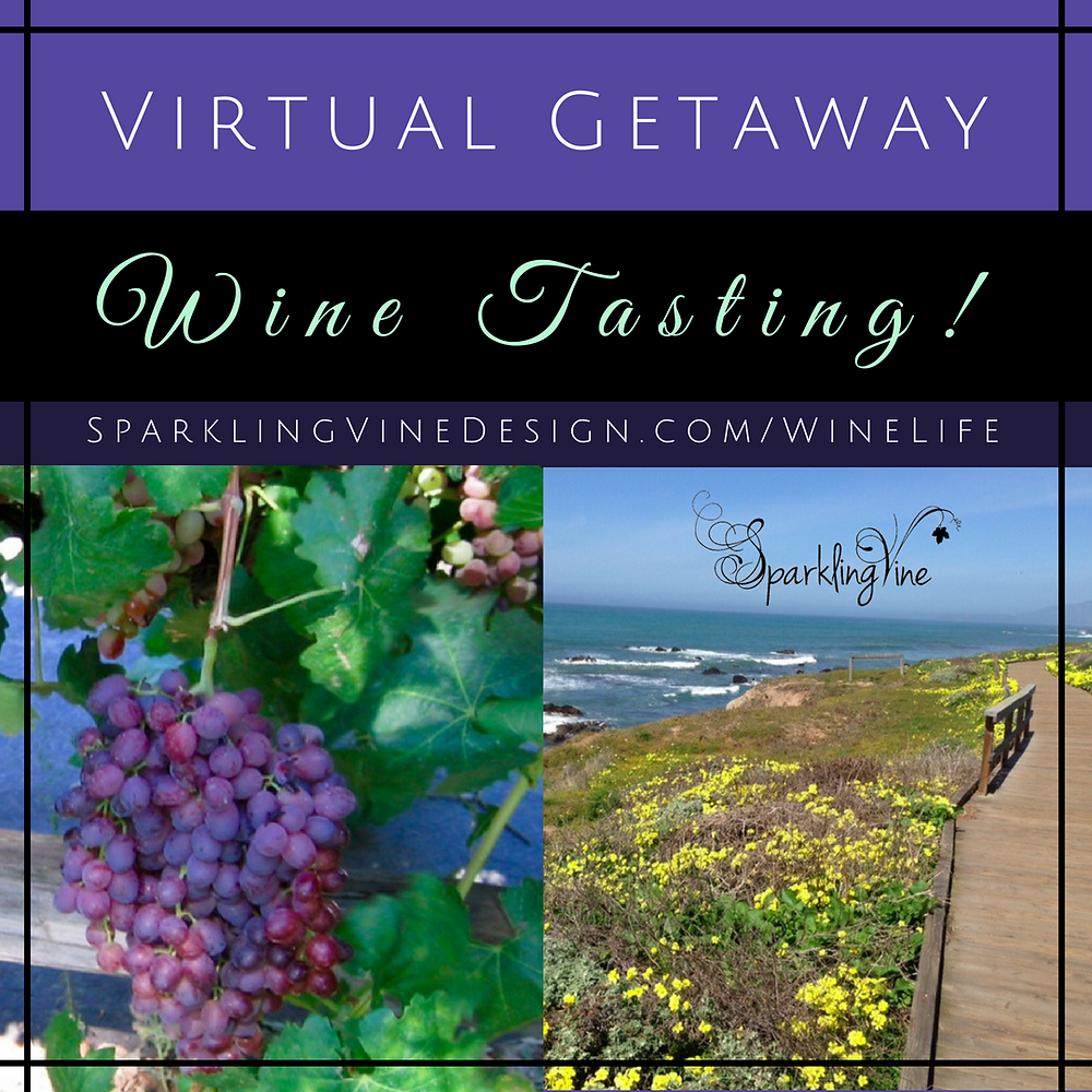 "Text reads ""weekend getaway wine tasting"" with an image of purple grapes and green leaves"