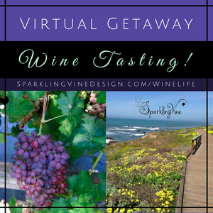"""Text reads """"weekend getaway wine tasting"""" with an image of purple grapes and green leaves"""