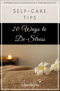 Text reads Self-Care Tips - 20 Ways to De-Stress with an image of a candle, flowers, and a spa environment