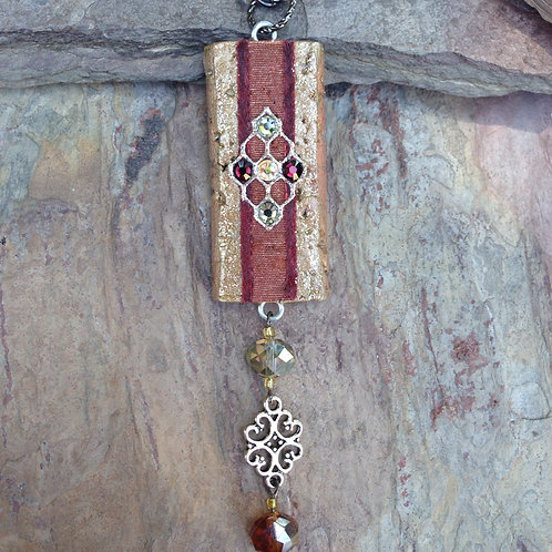Burgundy Medallion Necklace
