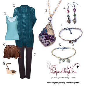 Style Guide: Casual Friday to Dinner & a Movie with an image of a chandelier crystal necklace, grape & crystal dangling earrings, beaded charm bracelets, a teal short sleeve sweater & matching tank, brown pants, suede handbag, & wedge heels