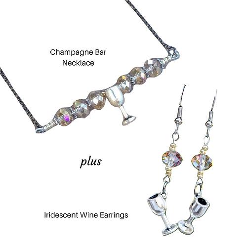 Wine Bar Necklace & Earrings