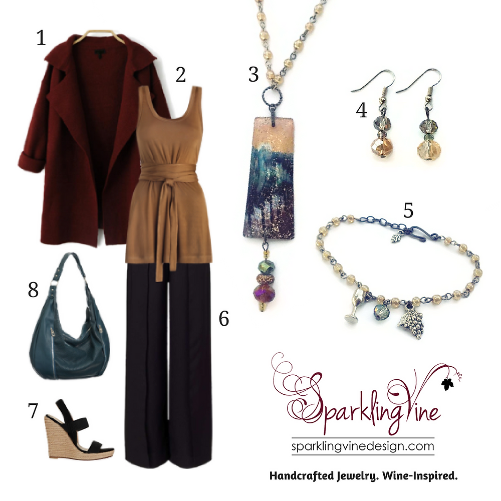 "Style Guide: ""Spice Up"" Your Wardrobe with this Fall Outfit with an image of a chandelier crystal necklace, crystal dangling earrings, beaded charm bracelet, wine-colored wool coat, a caramel tie-front tunic, teal hobo bag, dark brown straight-leg pants, & wedge sandals"
