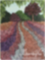 Wine art painting of a garden path