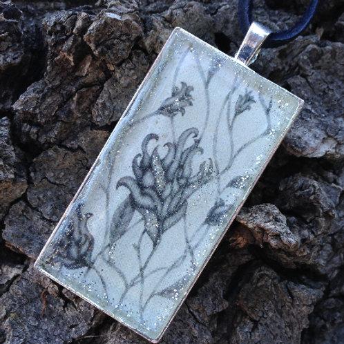 Black Floral Rec Pendant