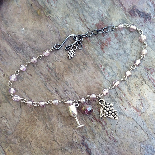 Lavender Glass Grape Bracelet
