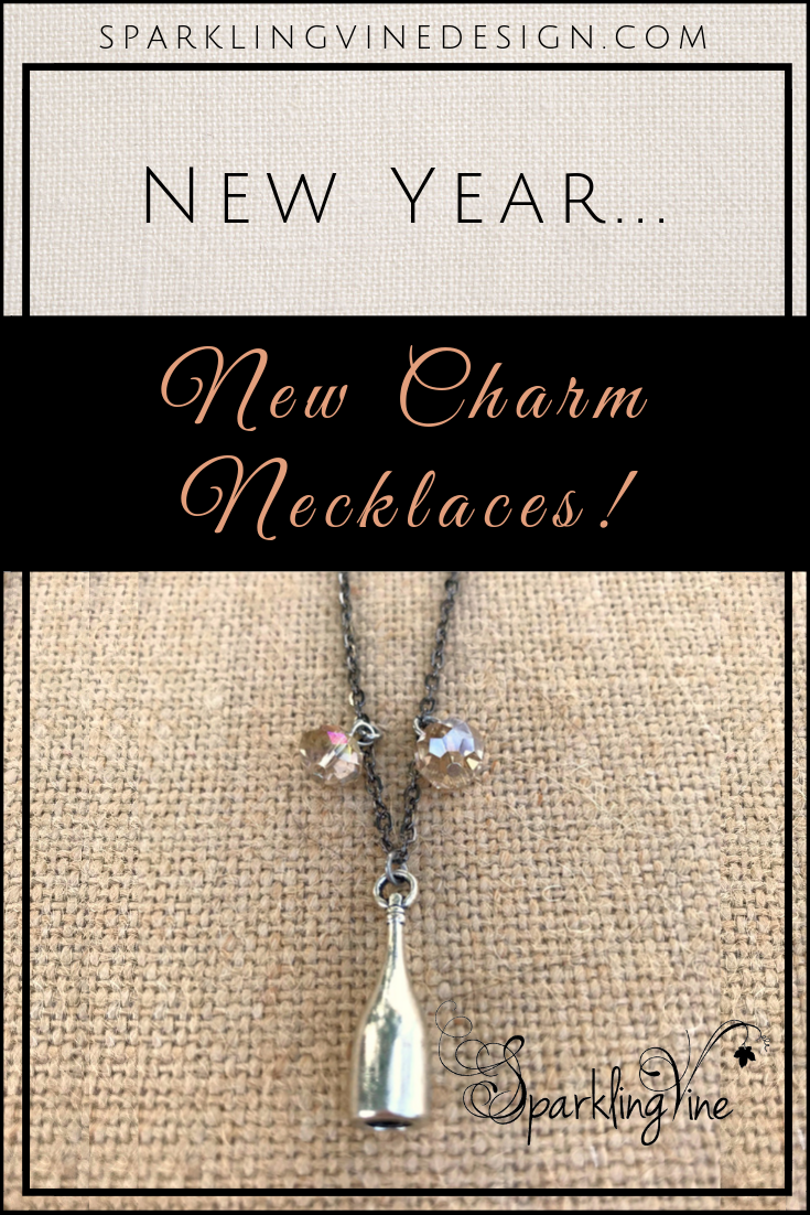 New charm necklaces, crystal necklaces, crystal pendant necklace, fashion jewelry necklaces that make great gifts for wine lovers
