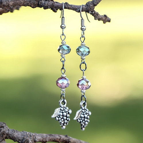 Sage Amethyst Grape Earrings