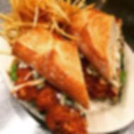 Pan-fried chicken sandwich