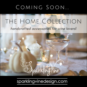 Wine lovers' gifts with text that reads coming soon: the home collection, handcrafted accessories for wine lovers with an image of an elegant table setting