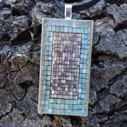 Rose Mosaic Rec Pendant