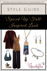 """Style Guide: """"Spice Up"""" Your Wardrobe with this Fall Outfit with an image of a chandelier crystal necklace, crystal dangling earrings, beaded charm bracelet, wine-colored wool coat, a caramel tie-front tunic, teal hobo bag, dark brown straight-leg pants, & wedge sandals"""