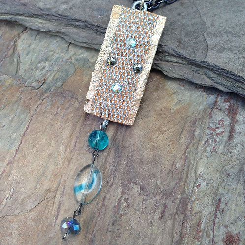 Silver Mesh Teal Necklace