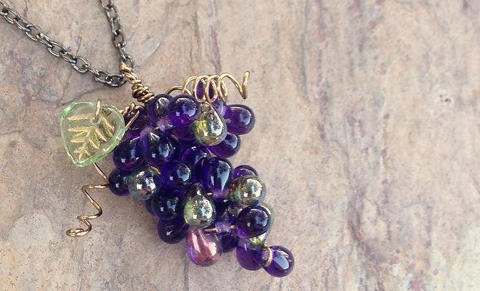 Grape cluster purple statement necklace