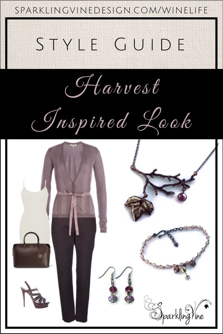 Style Guide: Bring in the Harvest with this Crisp Fall Outfit with an image of a twig & leaf necklace, beaded charm bracelet, dangling crystal earrings, lilac cashmere cardigan, dark brown pants, white tank, brown handbag, & brown strappy heels
