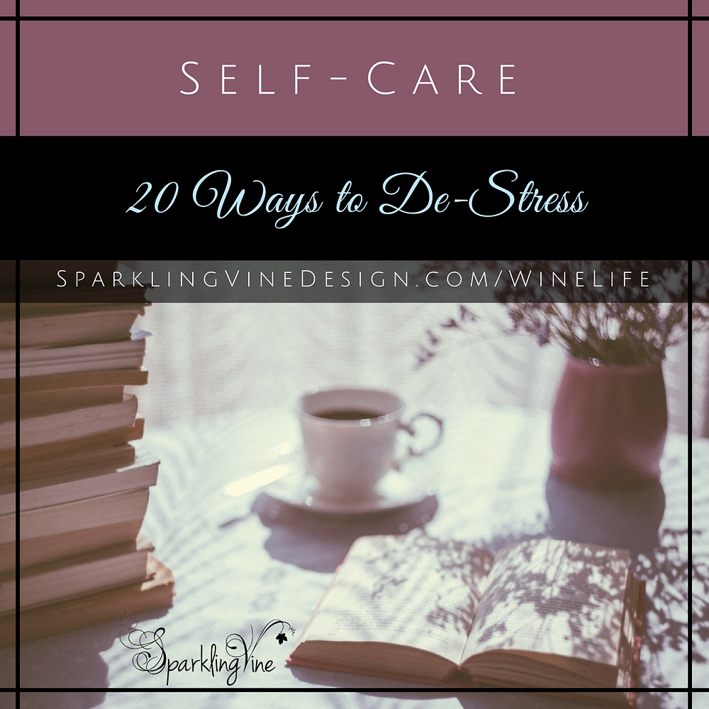 Text reads Self-Care Tips - 20 Ways to De-Stress with an image of a coffee cup and books