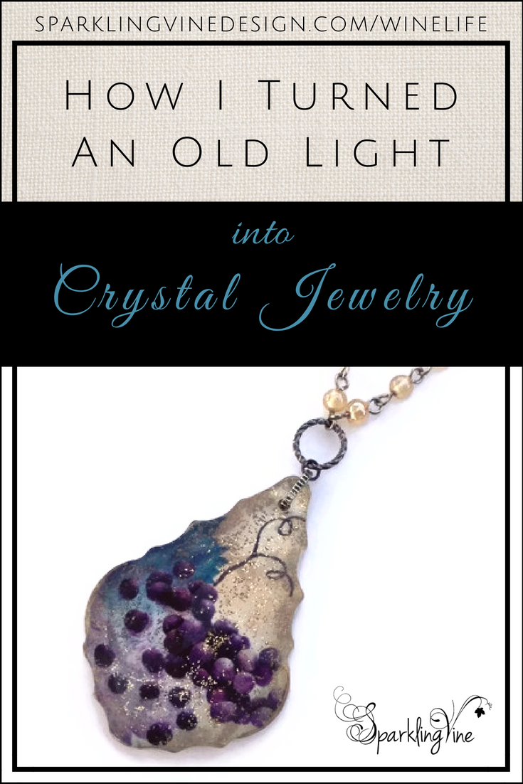 Text reads how I turned an old light into crystal jewelry with image of crystal necklace with purple grapes