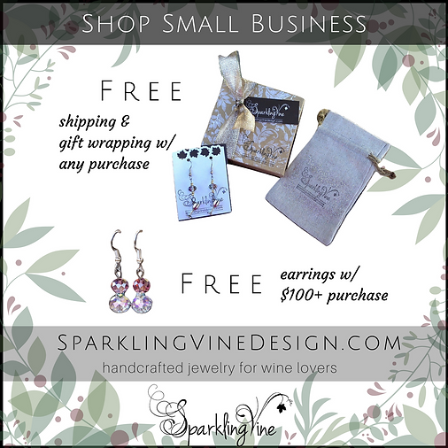 Crystal earrings offer for wine lovers gifts or a wine gift box