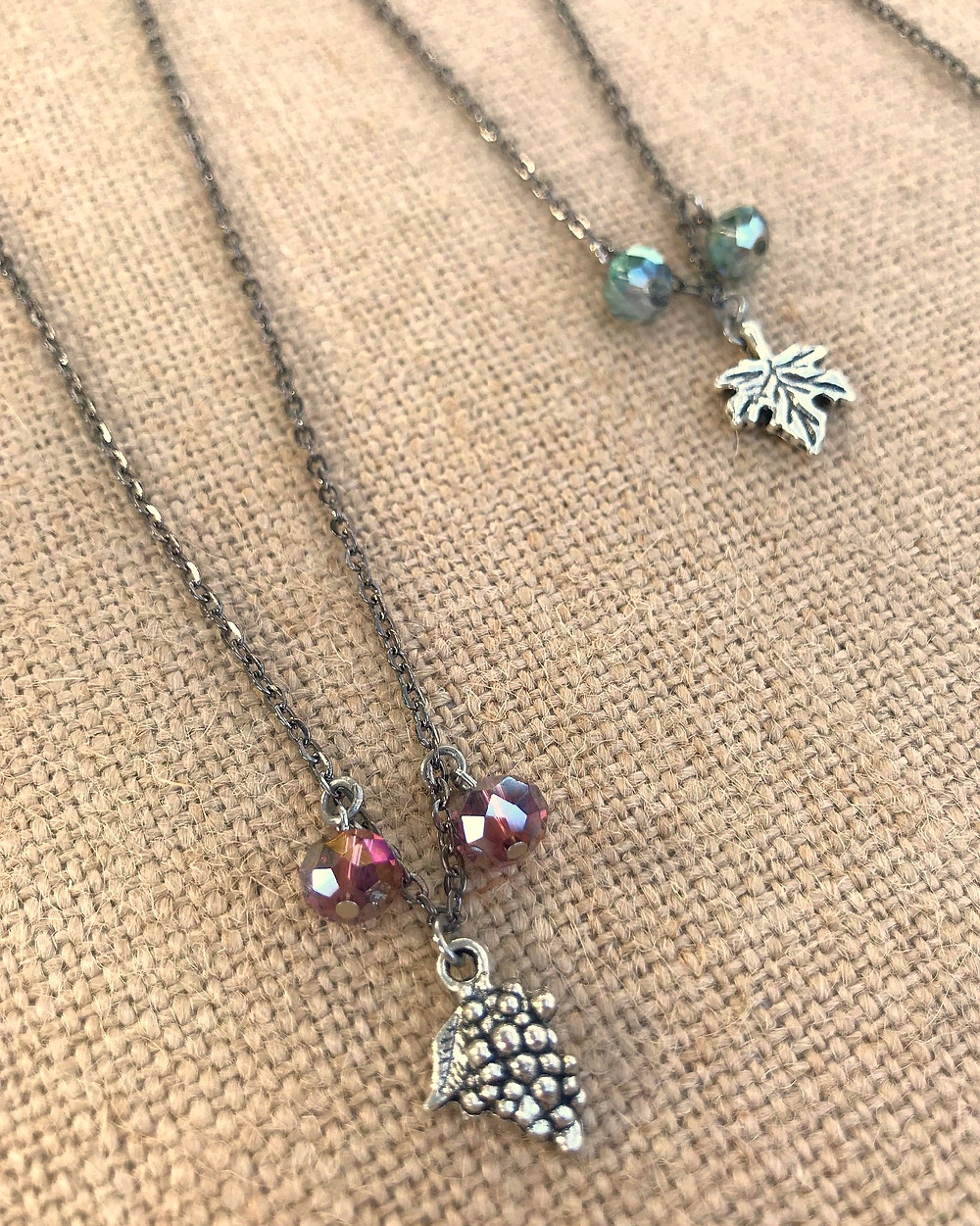 Two styles of new charm necklaces, crystal necklaces, crystal pendant necklace, fashion jewelry necklaces that make great gifts for wine lovers