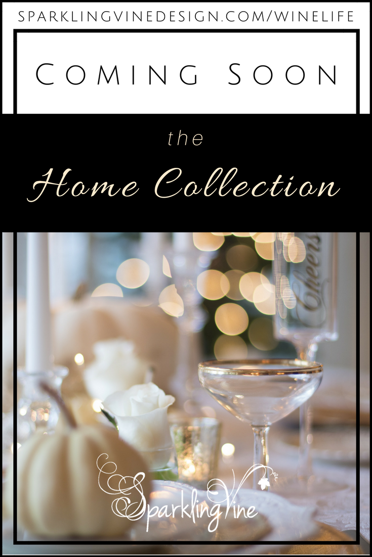 Wine lovers' gifts with text that reads coming soon: the home collection with an image of an elegant table setting