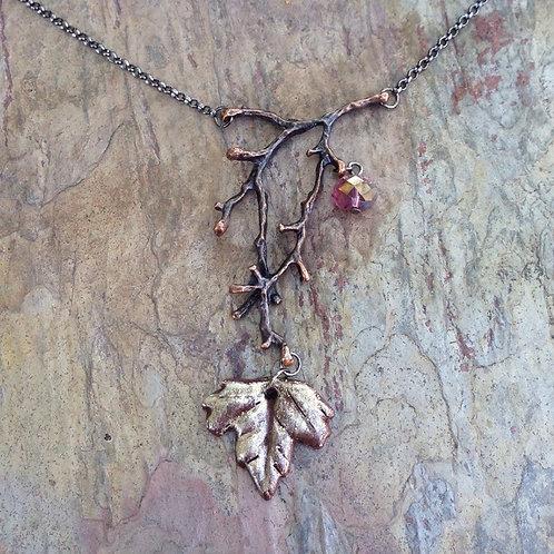 Amethyst Leaf & Twig Drop