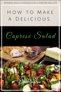 Caprese salad recipe with a photo of a Caprese salad and a cheese platter