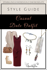Fashion ideas on what to wear on a date with a red maxi dress, tan handbag & sandals, & jewelry
