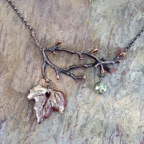 Sage Leaf & Twig Necklace