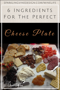 Text: 6 ingredients for the perfect cheese plate and a photo of a marble board with cheeses, meats, and bread