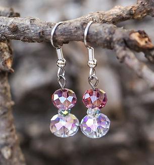 Dangling earrings and crystal earrings