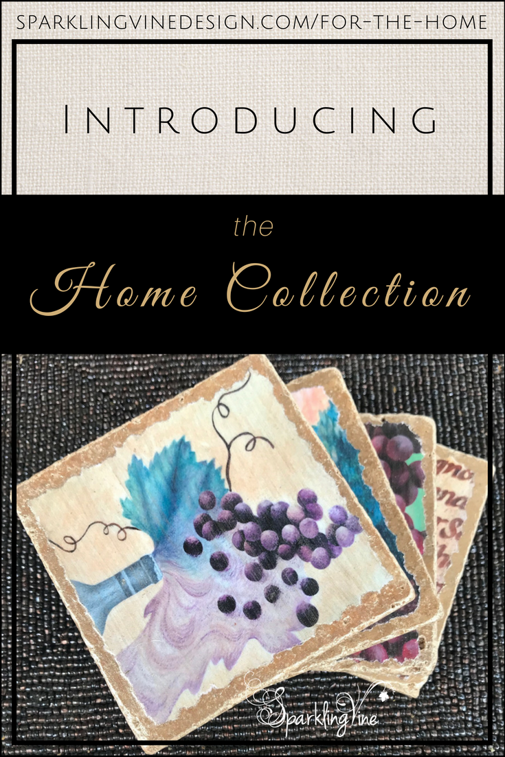 Wine lovers' gifts with text that reads introducing the home collection and an image of four stone coasters with grapes & wine-related art