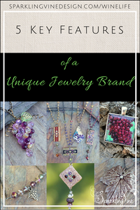 Text reads 5 key features of a unique jewelry brand with images of a purple grape cluster, cork necklaces, a red grape cluster, a grape leaf