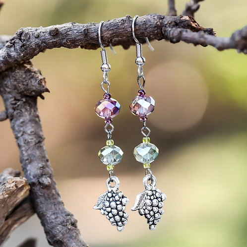 Amethyst Sage Grape Earrings