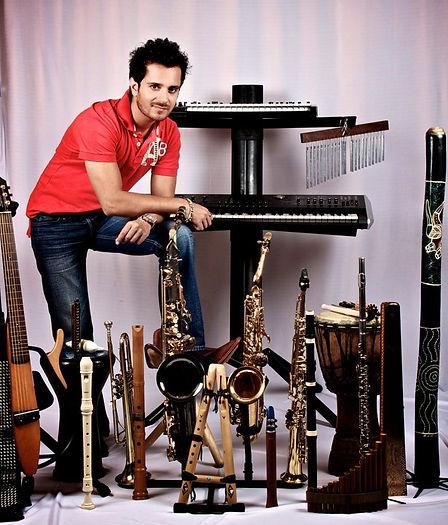 Raghav Sachar with his various instruments around him.