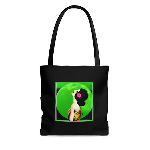Large Black BOHO Chic Tote Bag Green Full Moon Art Deco Woman Wishing on a Star
