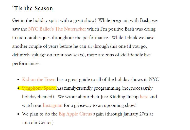 Concert mention in blog post