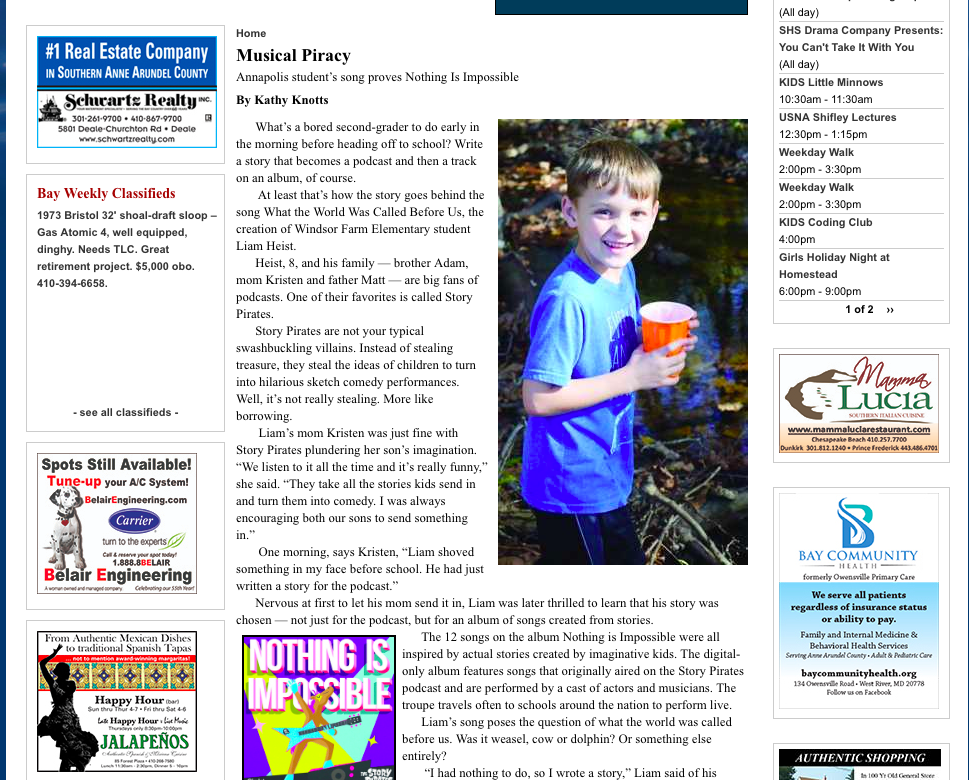 Bay Weekly Article