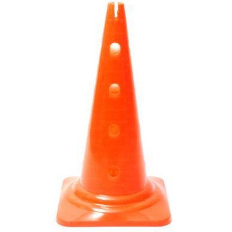 Cono altezza 50 cm. con 16 fori colore arancio.