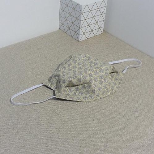 Masque Tissu RIAD Taupe coton 2 couches, 2 plis, pince nez.