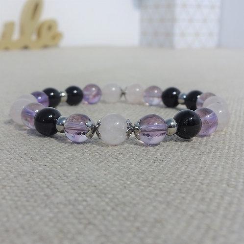 Bracelet Améthyste, Quartz rose, Agate INOX, rose violet noir