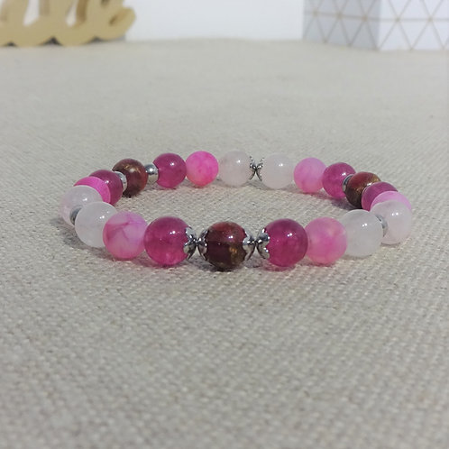 Bracelet Quartz rose, Agate craquelée, Jade, Jaspe cloisonnée,
