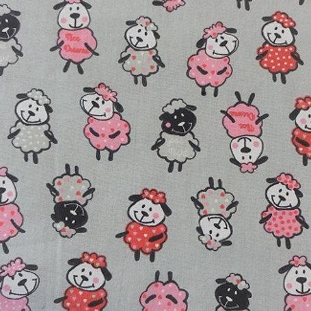 Masque Enfant MOUTON Rouge Rose coton 2 couches, 2 p